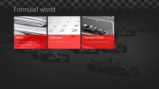 Formula1 world for Windows 8