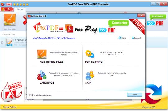 FoxPDF Free PNG to PDF Converter