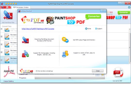FoxPDF Paint Shop Pro to PDF Converter