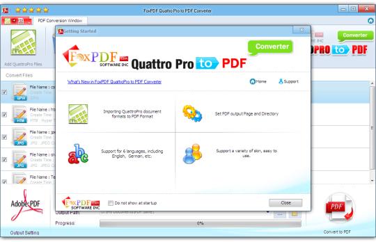 FoxPDF Quattro Pro to PDF Converter