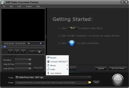 Free 3GP Video Converter Factory