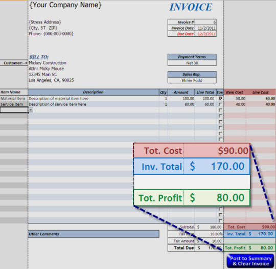 Free Excel Invoice Template & Profit Calculator