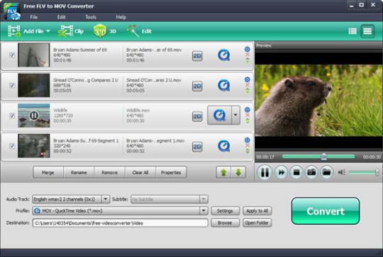 Free FLV to MOV Converter