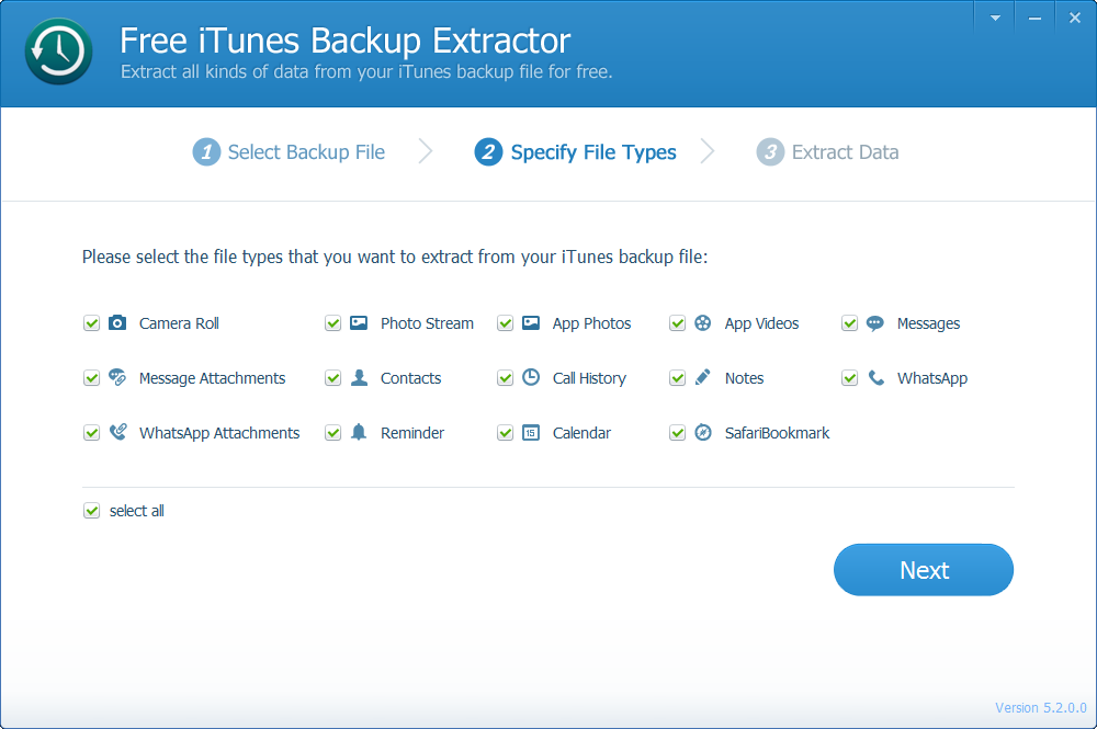 Free iTunes Backup Extractor