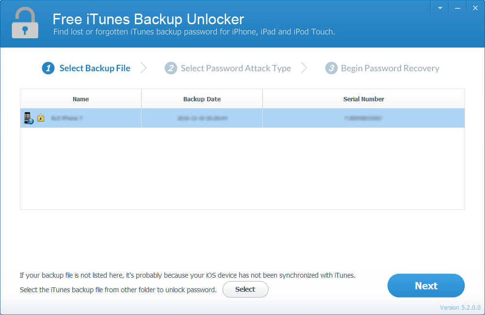 Free iTunes Backup Unlocker