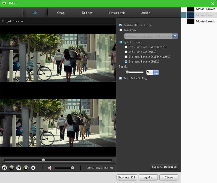 Free Mac 3D Video Converter Pro