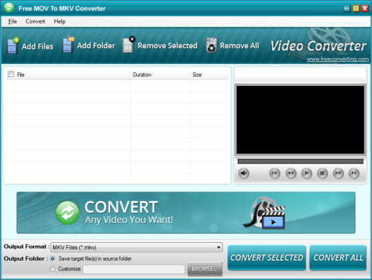 Free MOV to MKV Converter