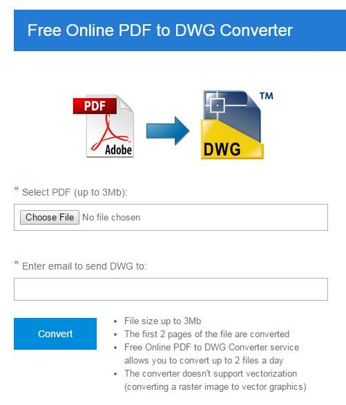 Free Online PDF to DWG Converter