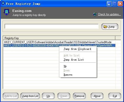 Free Registry Jump