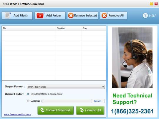 Free WAV to WMA Converter