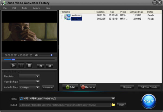 Free Zune Video Converter Factory