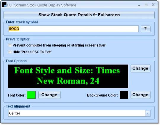 Full Screen Stock Quote Display Software