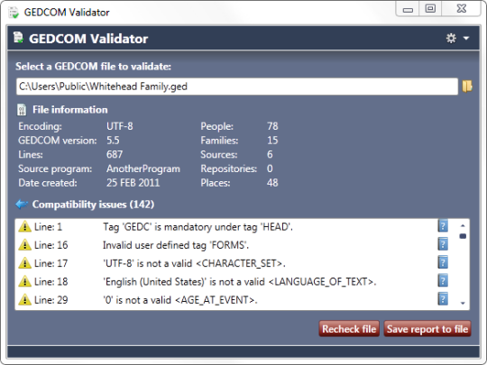 GEDCOM Validator (64-Bit)