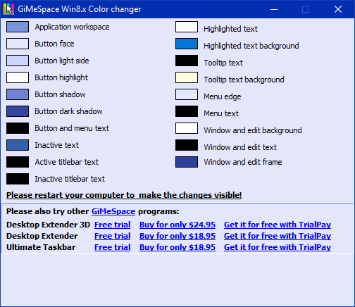 GiMeSpace Win 8 & 10  Color Changer