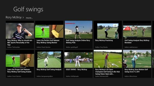 Golf swing viewer for Windows 8
