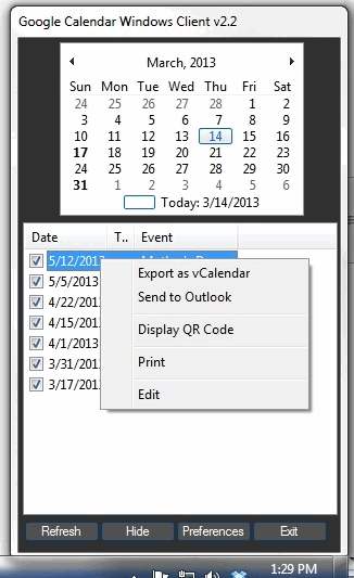 Google Calendar Windows Client