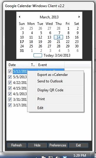 Google Calendar Windows Client