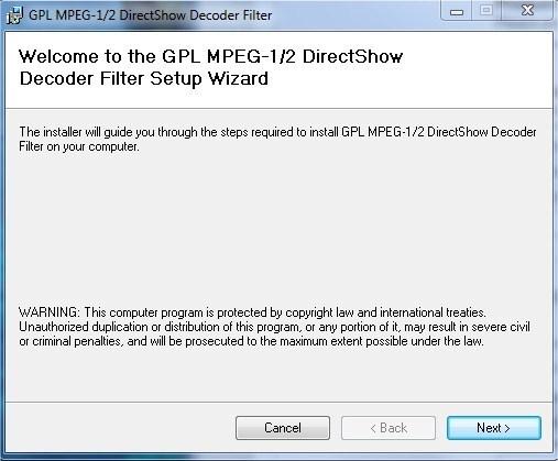 GPL MPEG 1/2 Directshow Decoder