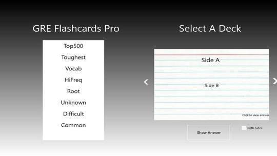 GRE Flashcards Pro for Windows 8