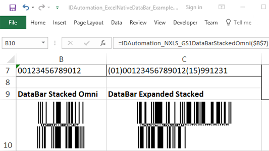 GS1 DataBar Microsoft Excel Generator