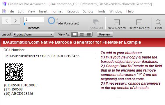 GS1 DataMatrix FileMaker Barcode Generator