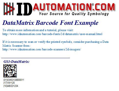 GS1 DataMatrix Font and Encoder Suite