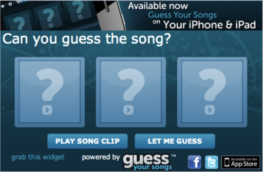 Guess Your Songs Widget