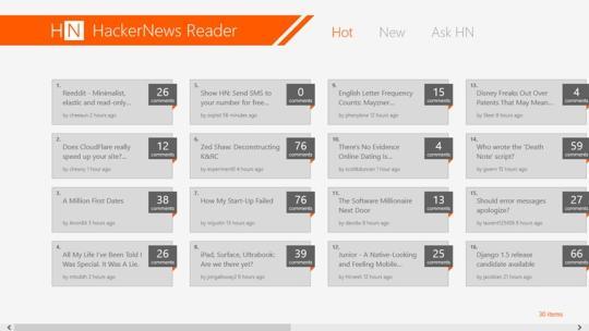 HackerNews Reader for Windows 8