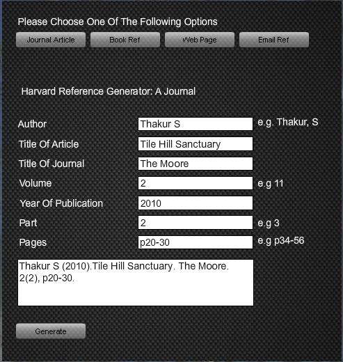 Harvard Reference Generator Tool