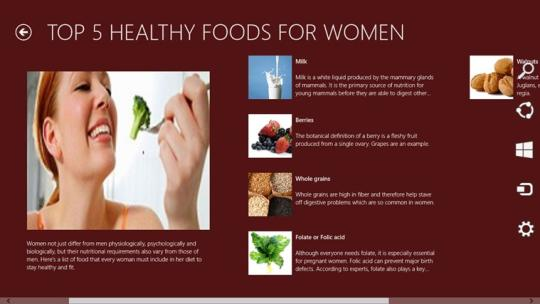 Healthy foods for women for Windows 8