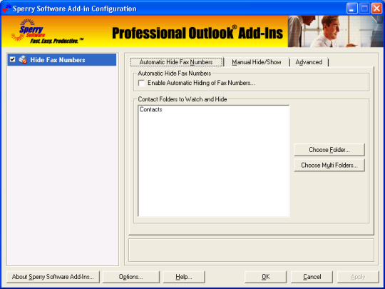 Hide Fax Numbers for Microsoft Outlook