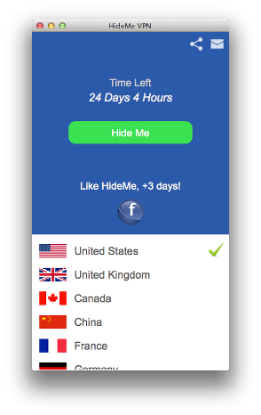 HideMe VPN for Mac
