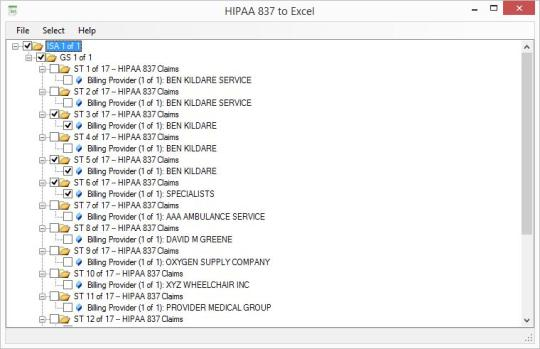 HIPAA 837 to Excel