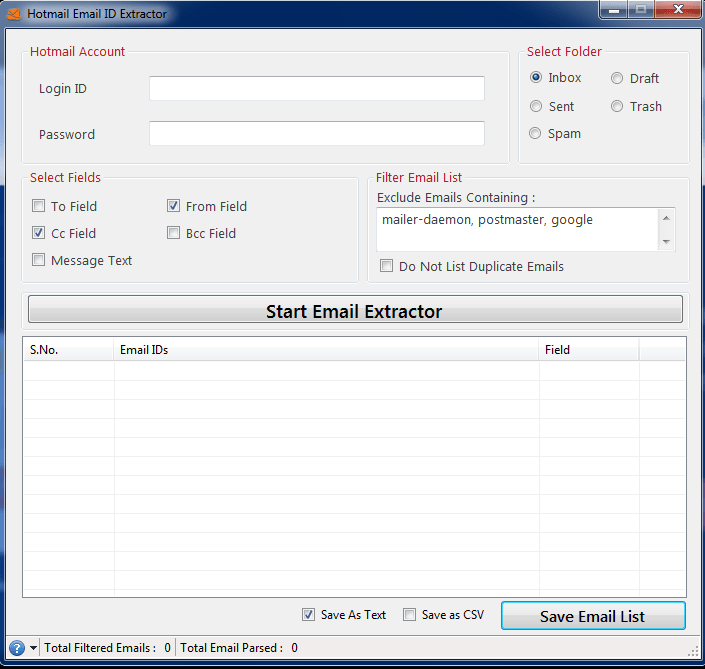Hotmail Email ID Extractor