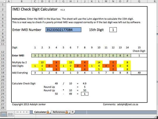 IMEI Check Digit Calculator