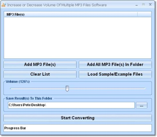 Increase or Decrease Volume Of Multiple MP3 Files Software