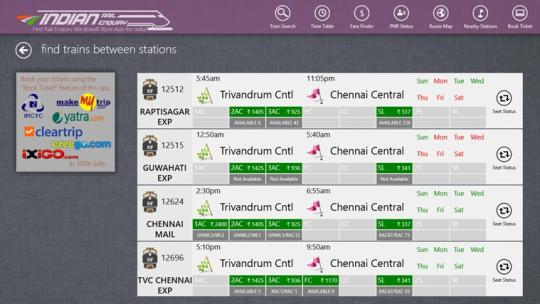 Indian Rail Enquiry for Windows 8