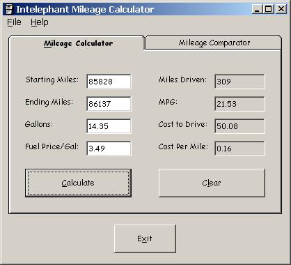 Intelephant Mileage Calculator