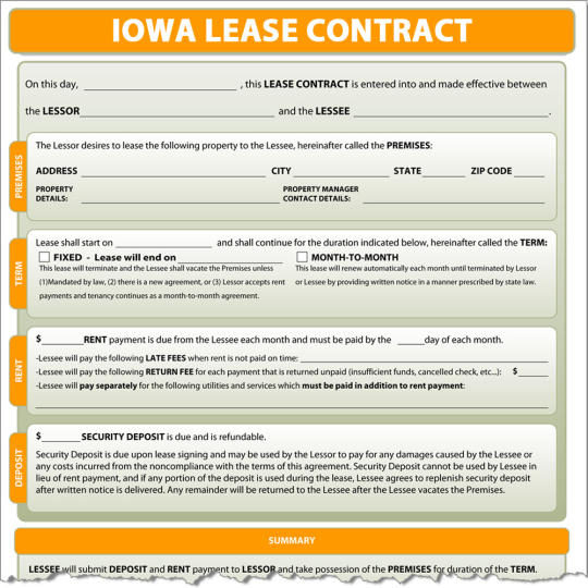 Iowa Lease Contract
