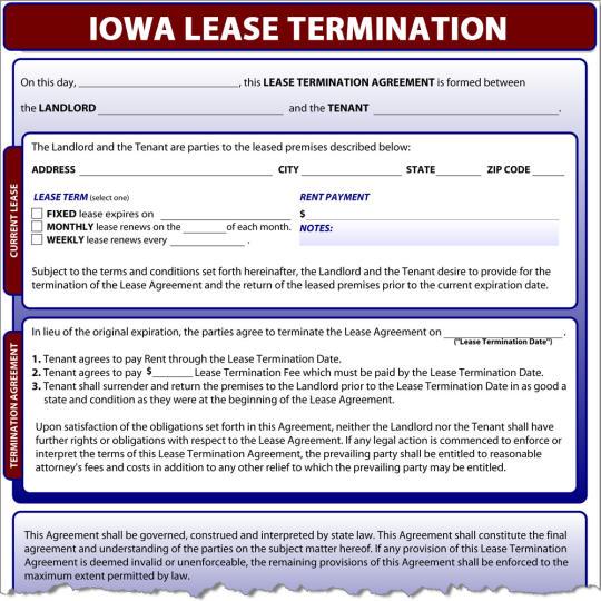 Iowa Lease Termination