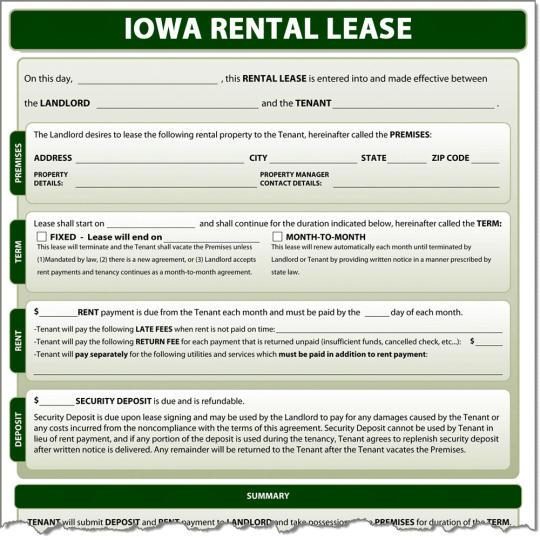 Iowa Rental Lease