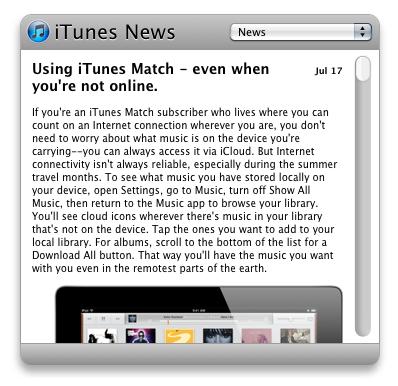 iTunes News Widget