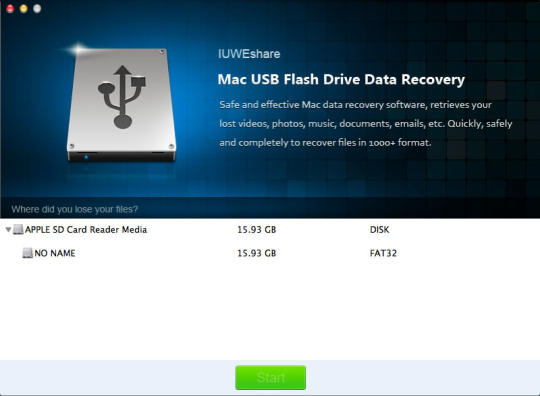IUWEshare Mac USB Flash Drive Data Recovery