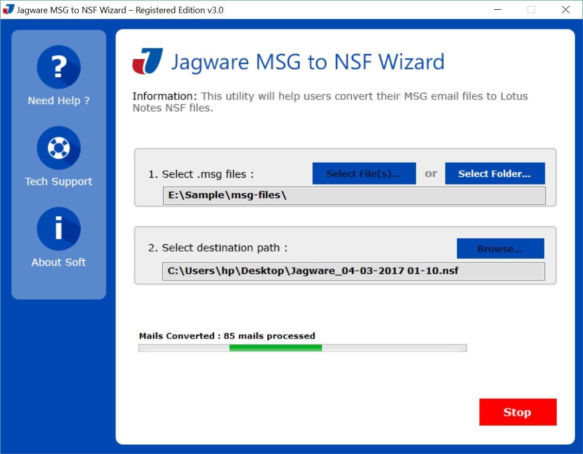 Jagware MSG to NSF Wizard