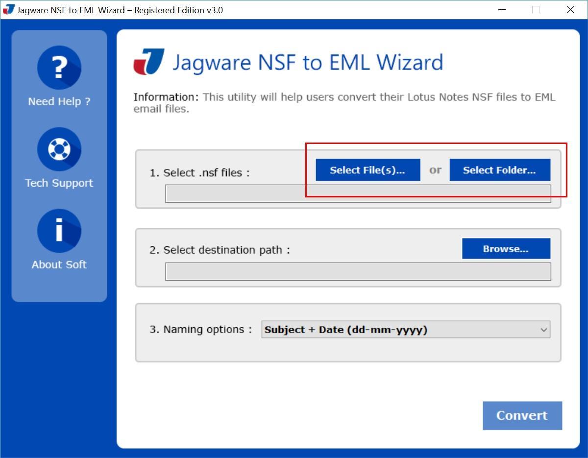 Jagware NSF to EML Wizard