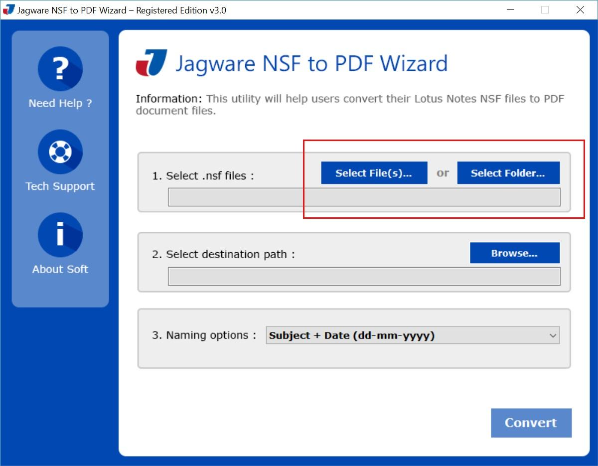 Jagware NSF to PDF Wizard
