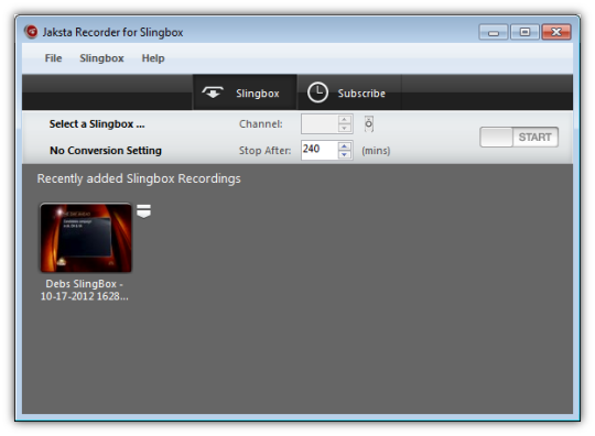 Jaksta Recorder for SlingBox