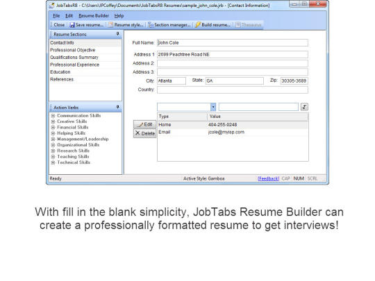 JobTabs Free Resume Builder