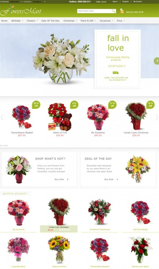Joomla Flower Virtualmart Template