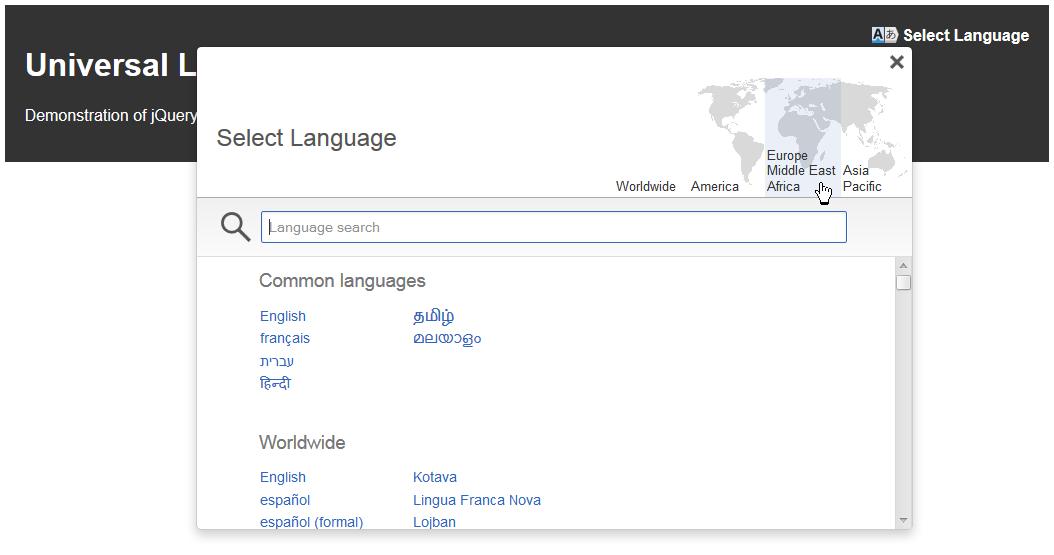 jQuery Universal Language Selector